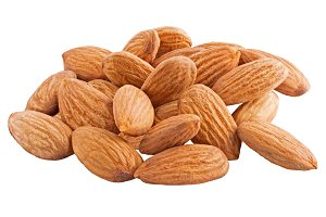Pile of almonds nut isolated