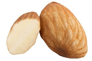 One and half almond isolated
