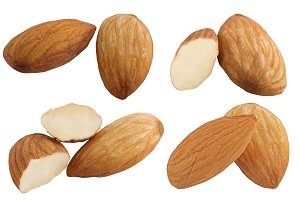 Collection of almonds isolated