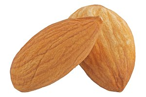 almond nut isolated on white