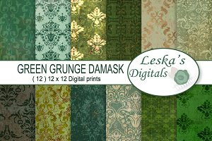 Green Grunge Digital Scrapbook Paper