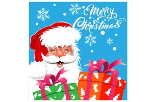 Santa Claus, Christmas card, retro