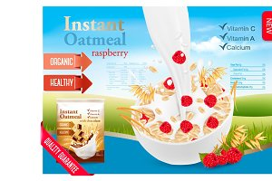 Instant oatmeal with berry