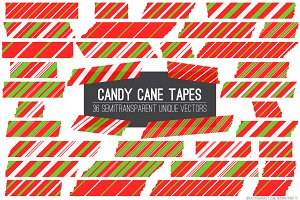 Vector Candy Cane Tape Strips