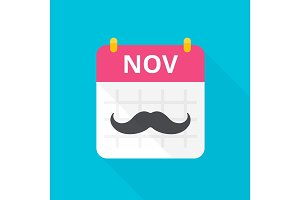 November calendar with vintage curly moustache.