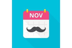 November calendar with vintage curly moustache.