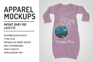 Infant Baby Rib Layette Mockups