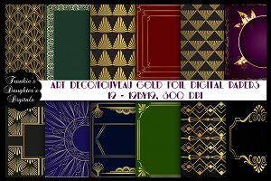 Art Deco/Nouveau Gold Foil Papers