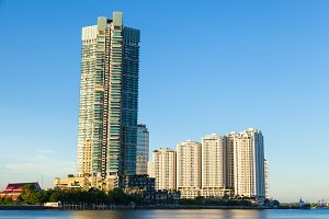 Condominiums and skyscrapers.