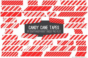 Red Candy Cane Tape Strips Clipart