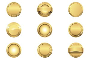 Gold Award Medal Badges Clipart Set