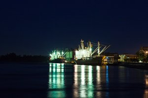 Shipping port at night.