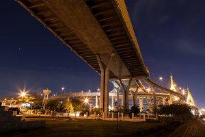 Bhumibol Bridge at night.