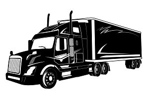 icon of truck, semi truck, vector