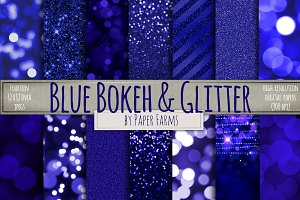 Blue bokeh and glitter