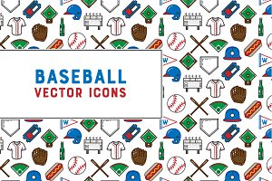 Baseball Vector Icon Set