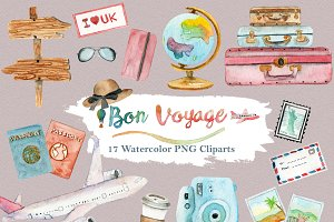 Watercolor Travel World Clipart Set