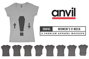 Anvil 380VL Women's V-Neck Mockups