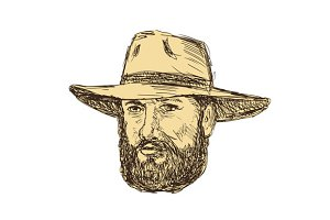 Bearded Cowboy Head Drawing