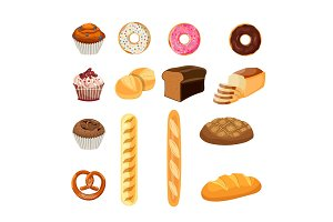 Set of bread food,