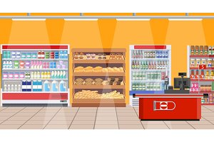 Supermarket interior. shelves with products.