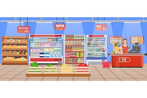 Supermarket store interior with goods.
