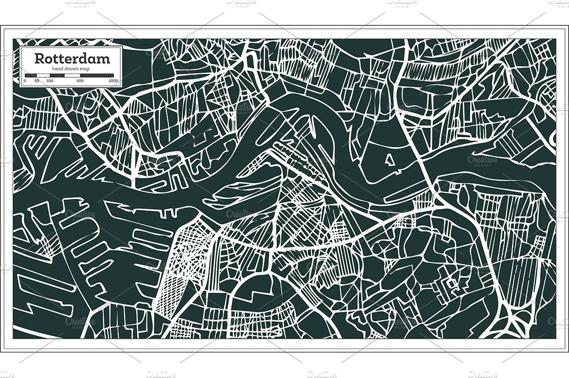 Rotterdam Map in Retro Style. ~ Illustrations ~ Creative Market