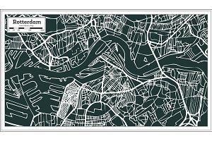 Rotterdam Map in Retro Style.