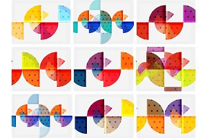 Modern round circle geometric abstract background set