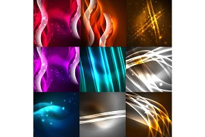 Glowing shiny abstract background set