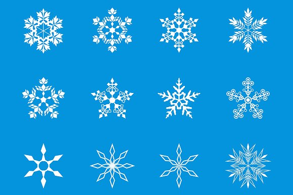 36 Snowflakes Vector Silhouette