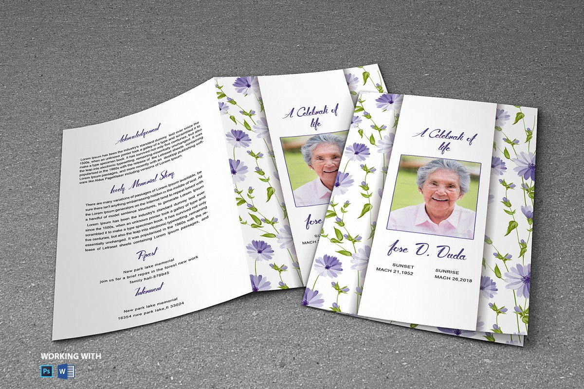 Printable Funeral Program Template in Brochure Templates