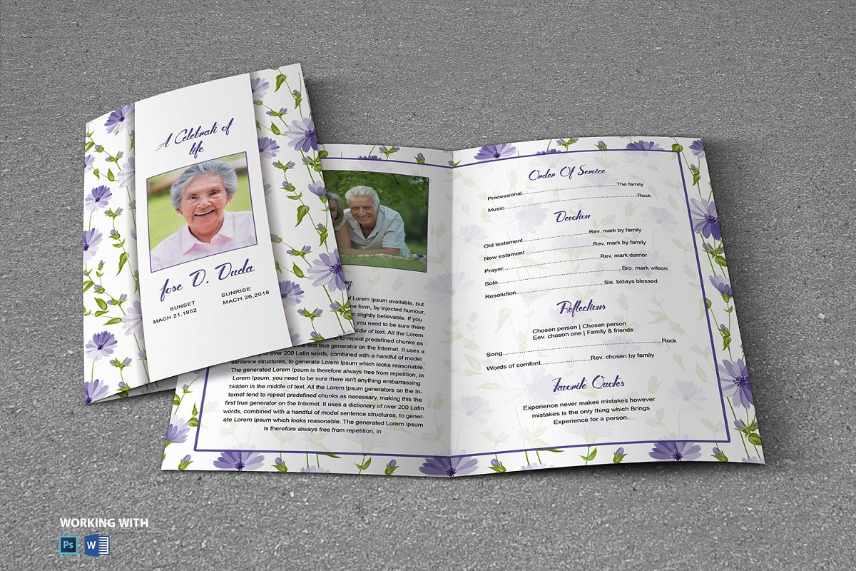 Printable Funeral Program Template in Brochure Templates - product preview 1