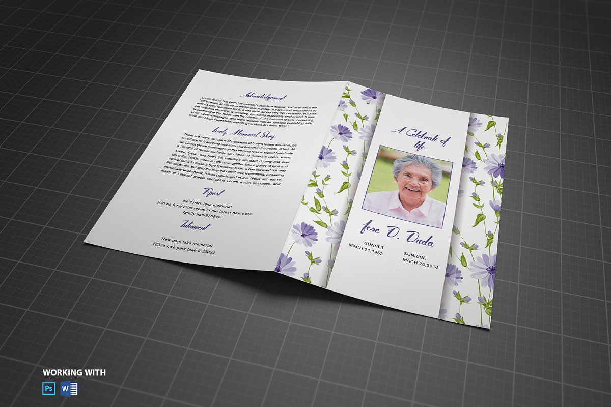 Printable Funeral Program Template in Brochure Templates - product preview 2