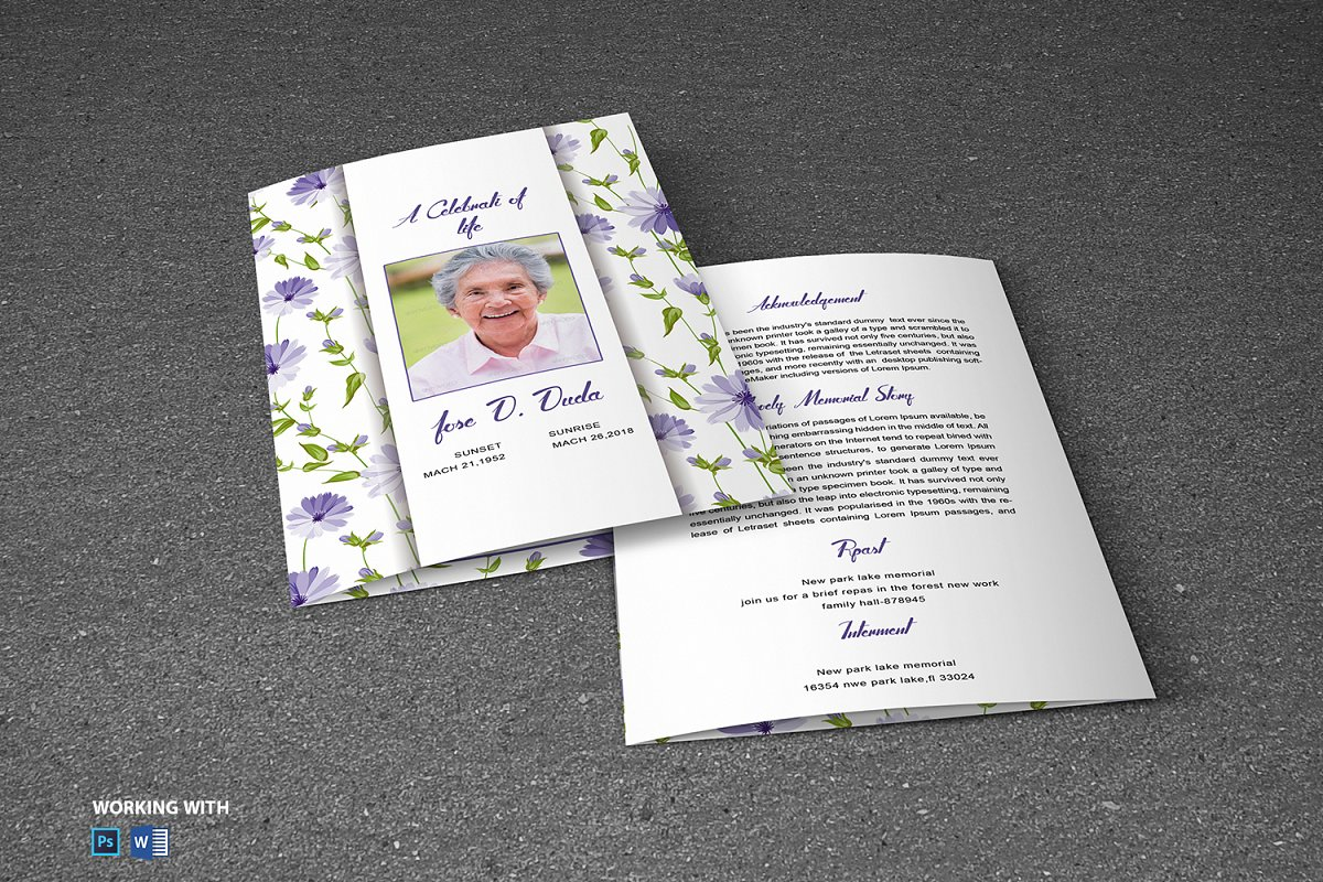 Printable Funeral Program Template in Brochure Templates - product preview 4