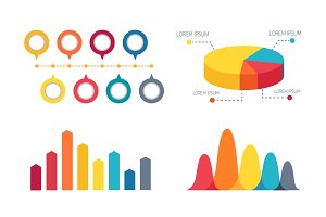 Pie Chart and Bar Graphs Vector Illustration
