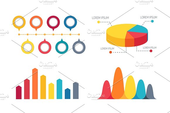 Pie Chart And Bar Graphs Vector Illustration Illustrations