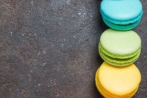 Colorful sweet macaroons