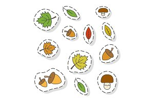 Autumn Forest Elements Flat Vector Stickers Set
