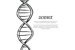 Science DNA Code Structure Icon Vector Poster