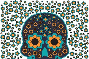 Skull vector with flowers