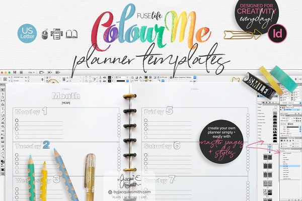 US Letter ColourMe Planner Template…