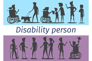 Disability Person Silhouettes Illustrations Set