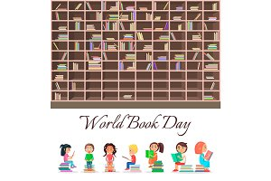 Concept of World Book Day with Big Brown Bookcase