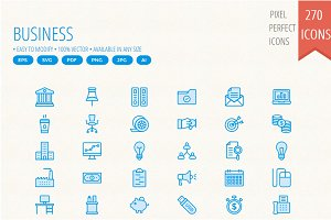 270 Bussines and Office Cute icons