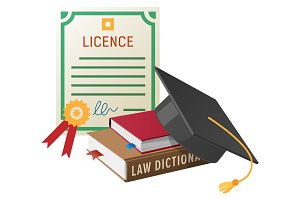 Licence with Stamp, Books Pile and Academic Hat