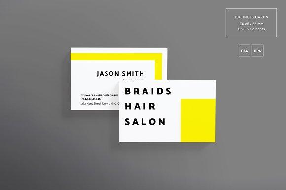 Business cards braids hair salon business card templates business cards braids hair salon business card templates creative market reheart Choice Image