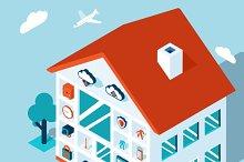 Vector 3d smart home concept