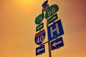 Interstate 40 road signs.
