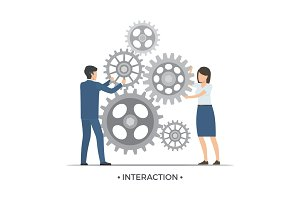 Interaction People and Gears Vector Illustration